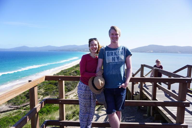 Links die tasmanische See, rechts sozusagen das Wattenmeer, Bruny Island | wat-erleben