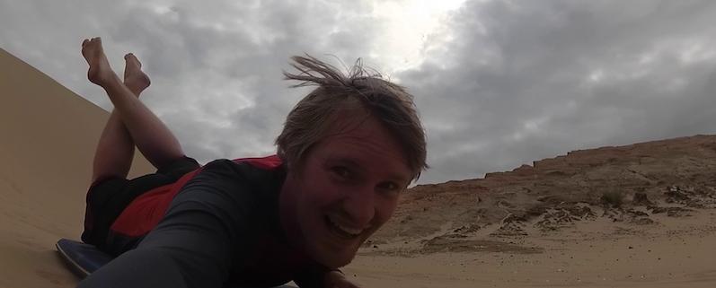 Spaß Pur beim Sandboarding, Te Paki Dünen, Neuseeland | wat-erleben