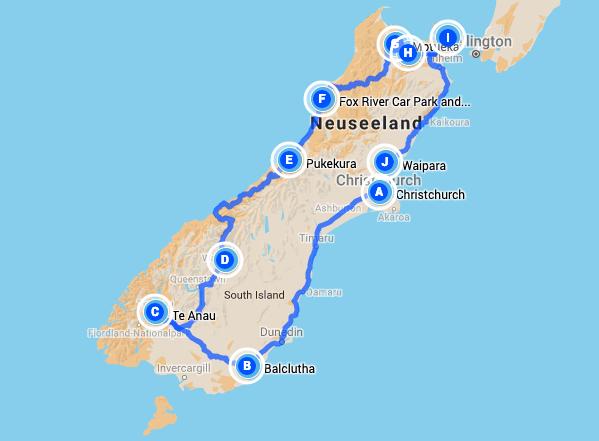 Südinsel Neuseeland, Roadtrip-Route | wat-erleben
