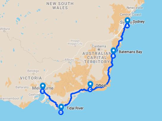 Sydney nach Melbourne, Roadtrip-Route | wat-erleben