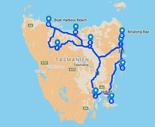 Tasmanien Roadtrip-Route | wat-erleben